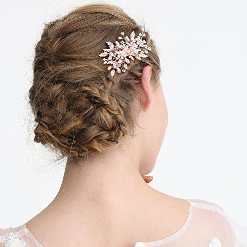 Frcolor Peinetas de novia, accesorios exquisitos del vestido de boda del tocado del peine de la joyería del pelo de cristal exquisita (S8137)