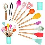 Gadget in Silicone da Cucina Set, Spatola da Cucina Antiaderente Colorata con Supporto, Ma...