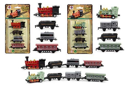 HorBous Treno Giocattolo Trenino Tirare Indietro per Bambini (Rosso + Verde)