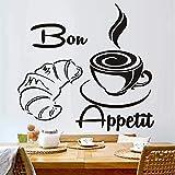 Moderno Croissant de Café Francés Bon Appetit Cocina Pizarra Pegatinas de Pared Decoración Del Hogar Arte Murales de Pared 60X56CM