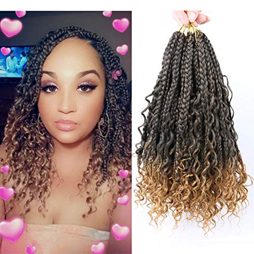 8 Packs Crochet Box Braids with Curly Ends12 inch Crochet Braids Box Braid Hair 3X Bohemian Box Braids Crochet Hair Extension (8Pcs, T27)