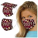 IsMoon 10 Stück 2021 Happy New Years Muster Einmal-Mundschutz Erwachsene Motiv 3-Lagig Mund und Nasenschutz Atmungsaktive Multifunktionstuch Halstuch für Damen Männer