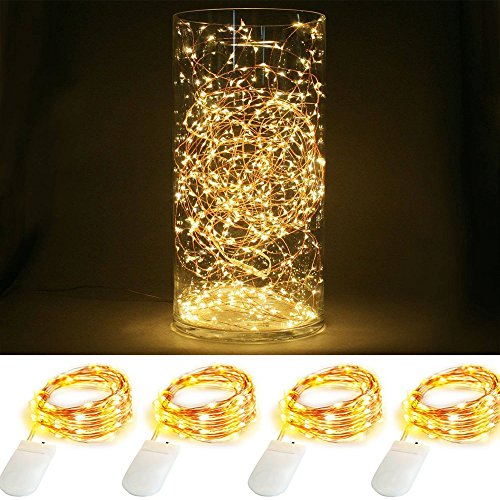 ILOVEDIY Lot de 4 Guirlande Lumineuse Pile 1M 10LED CR2032 Noel Interieur Exterieur Decoration (Blanc chaud)