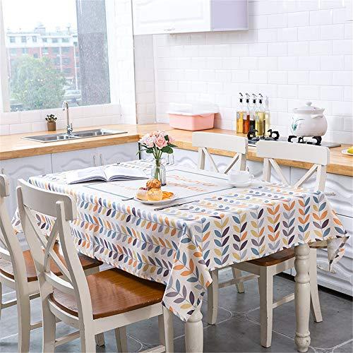 Fansu Mantel para Mesa Rectangular Nórdico Concisa Estilo Antimanchas Impermeable Lavable Mantel - Adecuado para Decorar Cocina Comedor Salón Restaurante (140x200cm,Hojas de Colores)