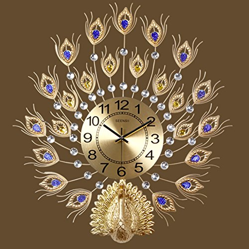Ping0fm Peacock Wanduhr Zeichnung continental Uhren kreative Wanduhr mute Home elektronische Uhr hängen von Quarzuhr Wanduhren,Die leuchtenden 58 * 65 CM