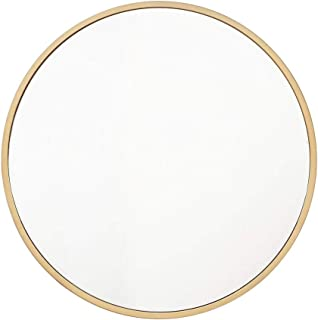 Qing MEI Nordic Bathroom Round Hanging Mirror Gold Frame | Iron Bathroom Mirror Bathroom Wall Mirror Bedroom Vanity Mirror | Makeup Mirror (Size : 70cm)