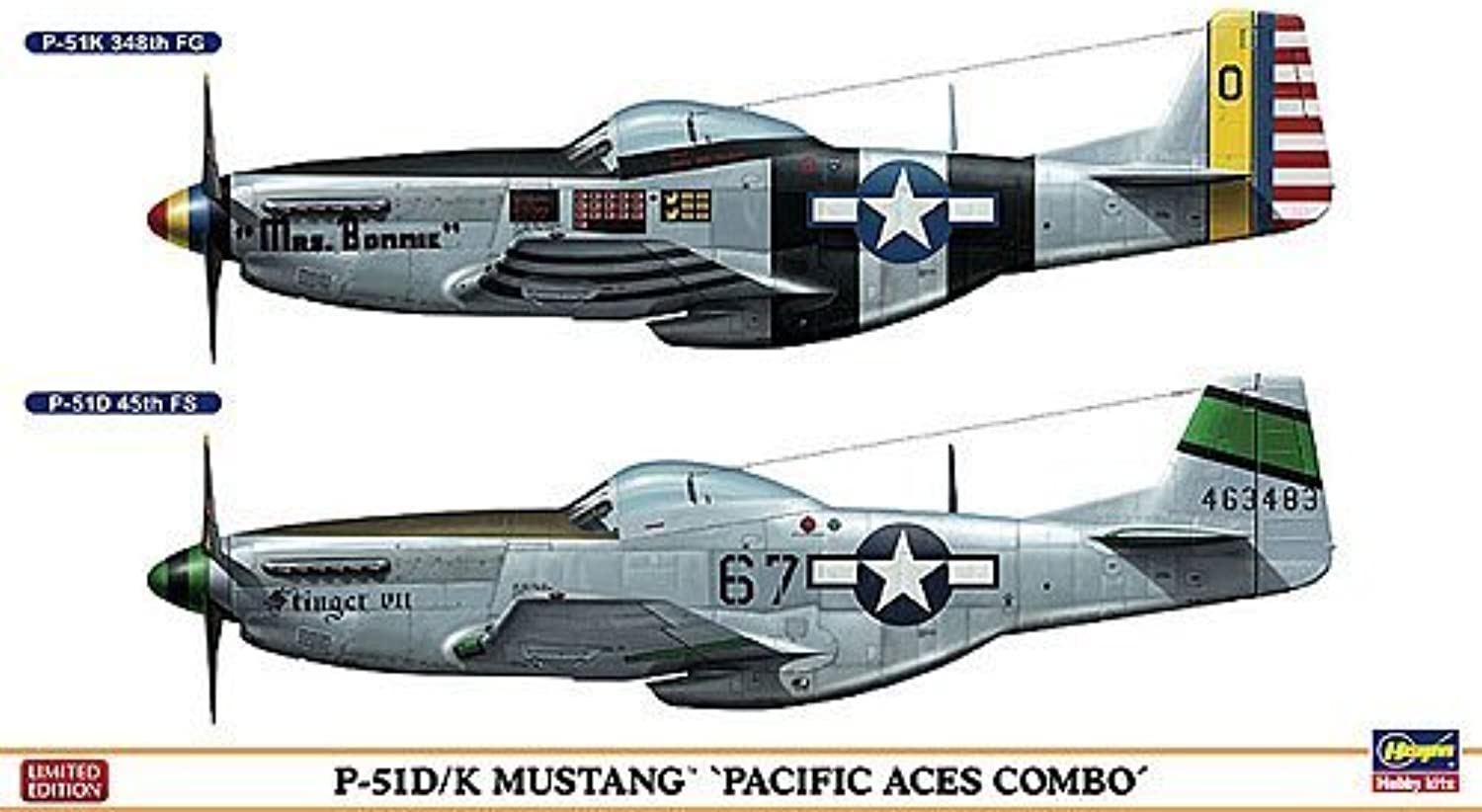 P-51D K Mustang `Pacific Aces Combo` (Plastic model) by HASEGAWA