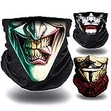 O³ Joker – 3 Braga de cuello para moto, bicicleta, senderismo, etc. | Bandana multifunción – Ligero – Cubreboca, cortavientos | Braga de verano Joker, sonrisa, casa de papel