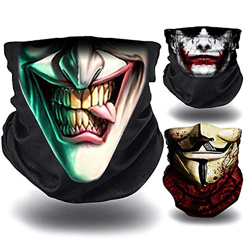 O³ Joker – 3 Braga de cuello para moto, bicicleta, senderismo, etc.   Bandana multifunción – Ligero – Cubreboca, cortavientos   Braga de verano Joker, sonrisa, casa de papel