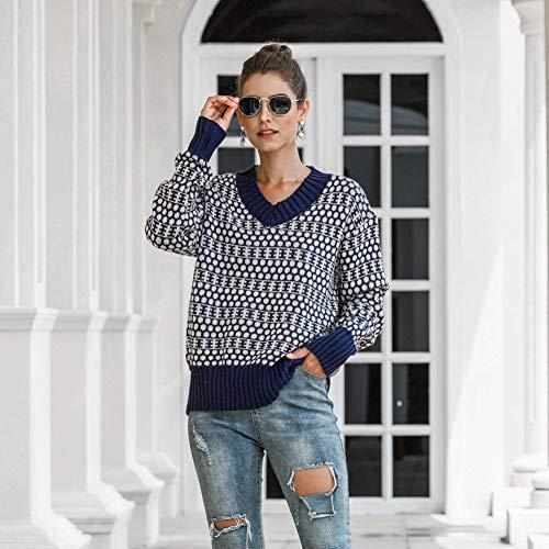 Baowang Damen Pullover, lässig, modisch, V-Ausschnitt, Retro, geometrischer Druck, Pastellfarben, bequem, gestrickt, Einheitsgröße