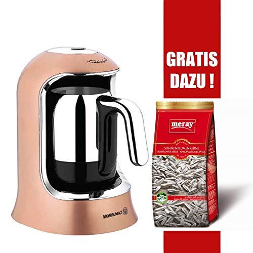 Korkmaz Mokkamaschine Modern Edelstahl türkischer Kaffee Kahvekolik 4-Tassen 400W, Farbe:Rose-Gold