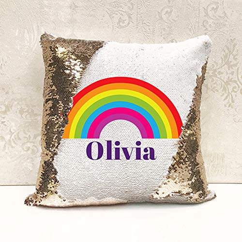 Genie Wholesale Luxury Personalised Reversible Sequin Cushion Rainbow Gift Add any name for the perfect personalised present(Cover Only)