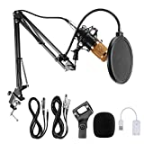 Condenser Microphone, Professional Studio Broadcasting Recording Mic with Adjustable Microphone...
