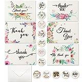 Mox 12Pcs Tarjetas de Agradecimiento Florales con Pegatina y Sobre, Tarjetas de Florales Acuarela para Profesores, Niños, Cumpleaños y Baby Shower
