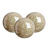 FLAMEER Bolas Esféricas de Mosaico para Cuencos y Jarrones Cuencos Hecho a Mano (Juego de 3) de Vidrio Mesa de Centro de Comedor Adornos Sala de Estar - dorado