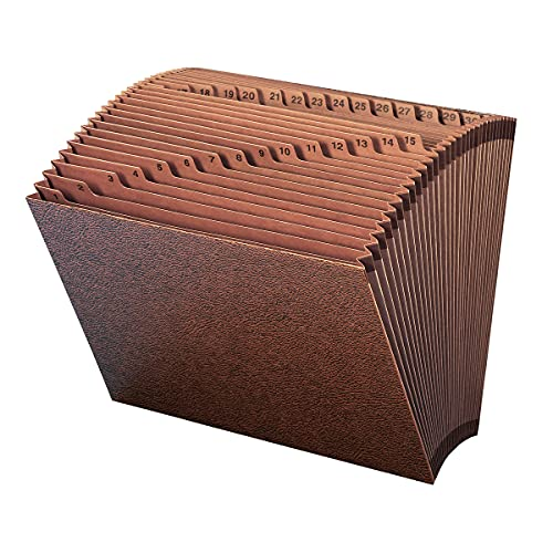 Smead TUFF Expanding File, 31 Pockets, Daily (1-31), Letter Size, Redrope (70467),LEATHER-LIKE
