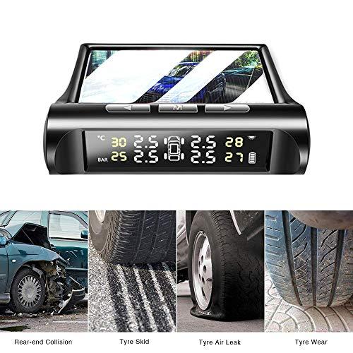 OH MY VAPOR Reifendruckkontrollsystem Auto TPMS Reifendruck Kontrollsystem Solar mit 4 Sensoren LCD Display Temperatur Anzeige für Auto, SUV Echtzeit-Temperatur Druck Monitor Nachrüsten
