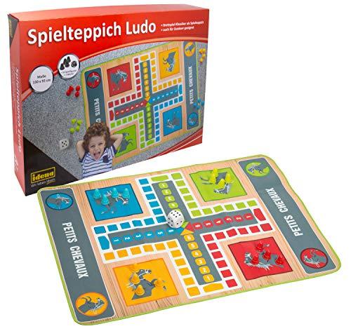 Idena 40126 Spielteppich Ludo ca. 130 x 93 cm mit 16 Spielfiguren und einem Würfel, Gesellschaftsspiel für drinnen und draußen geeignet, bunt