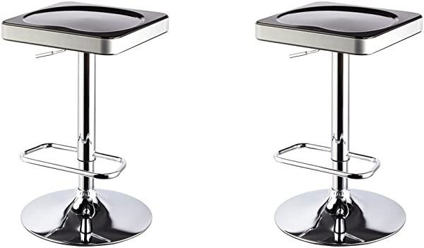 Roundhill Furniture I Stool ABS Adjustable Swivel Barstools Black Set Of 2