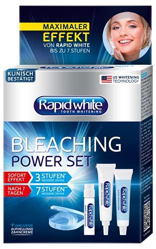 RAPID WHITE Bleaching Power Set, sofortige Zahnaufhellung, ohne Wasserstoffperoxid, für bis zu 7 Stufen weißere Zähne, Bleachinganwendung für Zuhause, blau, silber, 6 Stück (1er Pack)