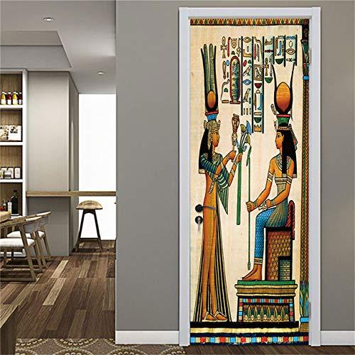 KJKL 3D Door Sticker interior art doors Poster muraldecal Wall Murals stickers Retro egyptian couple pvc Self Adhesive Door Mural living Room bedroom Office Home Decoration 77x200cm