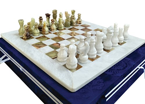 15 Inches White & Green Onyx Top Home Decor Ideas Classic Board Games Chess Set – Handmade Marble Decor Chess Board Game Set – Non Othello Game - Non Backgammon Board Game – Non Wooden