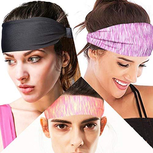 tEEZErshop Sport Stirnbänder für Fitness zu Hause, Frauen Yoga Wicking Haarband mit Anti Rutsch,Elastische Sport Schweißband für Fitness Training,Jogging,Tennis, Radfahren(3er Pack)