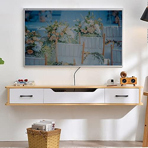 Bxzzj Soporte De TV Flotante De Madera, Consola Multimedia De Pared De 130 Cm, Mueble TV con 2 Cajones, Orificio para Cable Oculto/Ahorro De Espacio (Color : C, Size : 130CM)