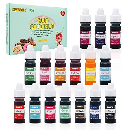 Colorante Alimentario - 16 colores 0.25 oz / 6 ml Colorante Alimentario Alta Concentración Liquid Set para Colorear los Bebidas Pasteles Galletas Macaron Fondant
