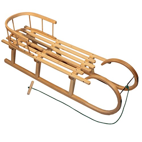 BambiniWelt Hoornslee met rugleuning & trekkoord, 100 cm, slee houten slee kinderslee