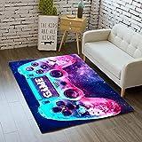 Teppich Schlafzimmer Modern Gamer 3D Controller Teenager Kind Junge Wohnzimmer Teppich rutschfeste Graffiti Spielkonsole Dekoration Carpets Schwarz Lila Rosa Flanell Teppiche (Farbe 5,120x160 cm)