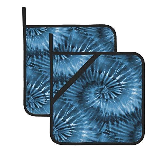 Topflappen für Küche, blau-grau, Batikfärbung, Starburst Spirale, Retro, hitzebeständig, quadratischer Topflappen, Topfuntersetzer, Kochen, Backen, Doppelfunktion, Hot Pad, 2 Stück