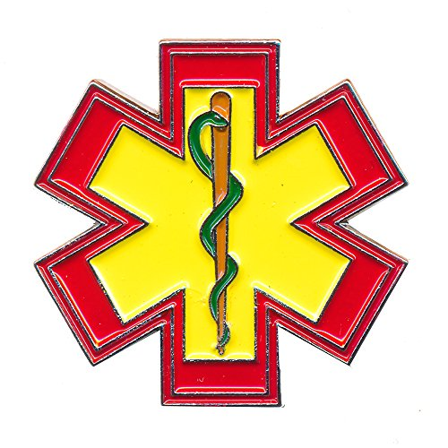 EMT Star of Life Rettungsdienst Äskulapstab 3D Metall Button Pin Anstecker 0543