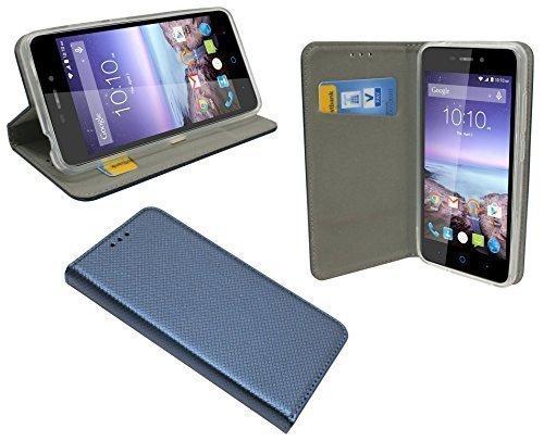 ENERGMiX Buchtasche kompatibel mit ZTE Blade A452 Hülle Case Tasche Wallet BookStyle mit Standfunktion in Blau-Navy