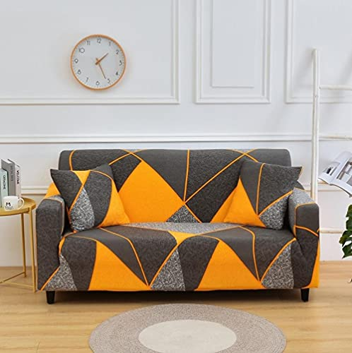 Funda Sofa 1 Plaza Triángulo Gris Amarillo Fundas para Sofa con Diseño Elegante Universal,Cubre Sofa Ajustables,Fundas Sofa Elasticas,Funda de Sofa Chaise Longue,Protector Cubierta para Sofá