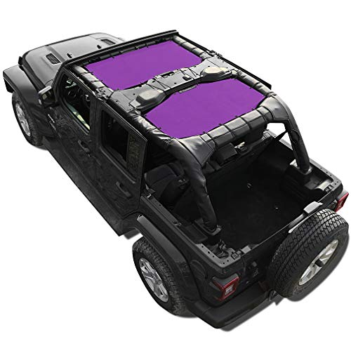 Shadeidea Sun Shade for Jeep Wrangler JL Unlimited (2018-Current) 4 Door Front and Rear 2 piece-Purple Mesh Screen Sunshade JLU Top Cover UV Blocker with Grab Bag-One time Install 10 years Warranty