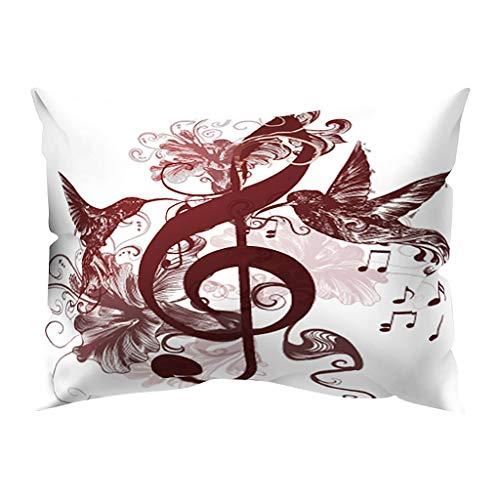 Hunpta @ Kissenbezug 30x50 cm - Musiknote Muster Retro Kissenhüllen Kopfkissenbezug für Wohnzimmer Schlafzimmer Kinderzimmer Sofa Dekor Home Dekorative Zierkissenbezüge mit Reißverschlüsse