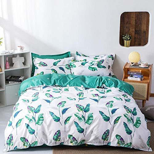 YTBDWOSQ Weiße Einfache Pflanze Bettbezug 200X200 cm - Luxuriös, Ultraweich, Zottelig, Bettwäsche-Set, 3-Teilig (1 Bettbezug + 2 Kissenbezüge), Reißverschluss Weich, Seidig, Atmungsaktiv, Langlebig