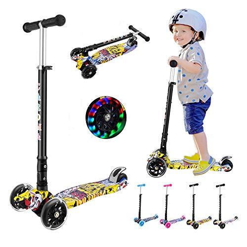 CAROMA Kinderroller 3 Räder Faltbar Kinderscooter Jungen und Mädchen für Kinder Roller ab 3-14 Jahre mit 3 LED PU Laufrad, Verstellbare Lenker (Gelb)