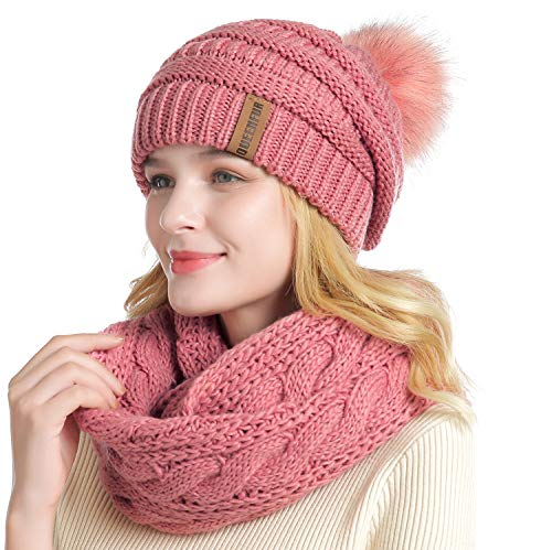 QUEENFUR Winter Women Thick Cable Knit Ribbed Infinity Circle Loop Scarf (28- Single Pink Beanie and Scarf Set)