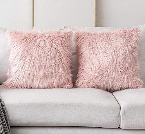 Decorative Faux Fur Cushion Cover with Brushed Black Tips, Plush Fuzzy Throw Pillow Case for Home Accent Sofa Bed Chair Couch, Set of 2, 45x45cm (Blush Pink, 45x45cm)