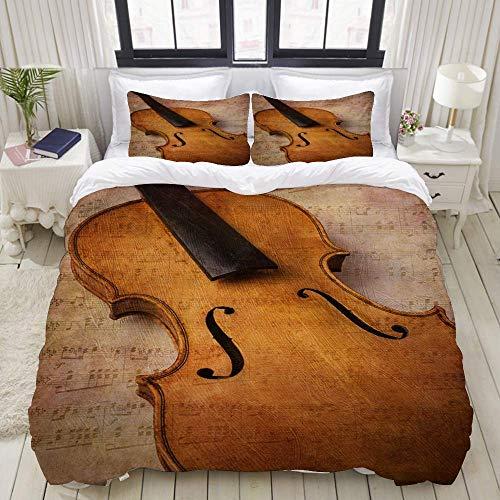 Funda nórdica, Instrumento de música Abstracta de violín, Juego de Ropa de Cama Juegos de Fundas de edredón de poliéster de Lujo Ultra cómodos y Ligeros (3 Piezas)