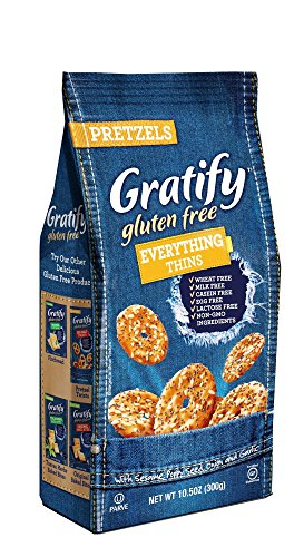Gratify Gluten Free Pretzel Thins Everything Vegan Gf Pretzel Crisps, 10.5oz Bag (Pack Of 6)