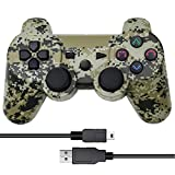 Vinonda PS3 Controller Wireless Double Vibration Remote Gamepad with Charging Cable for Sony Playstation 3 (Camouflage Grey)