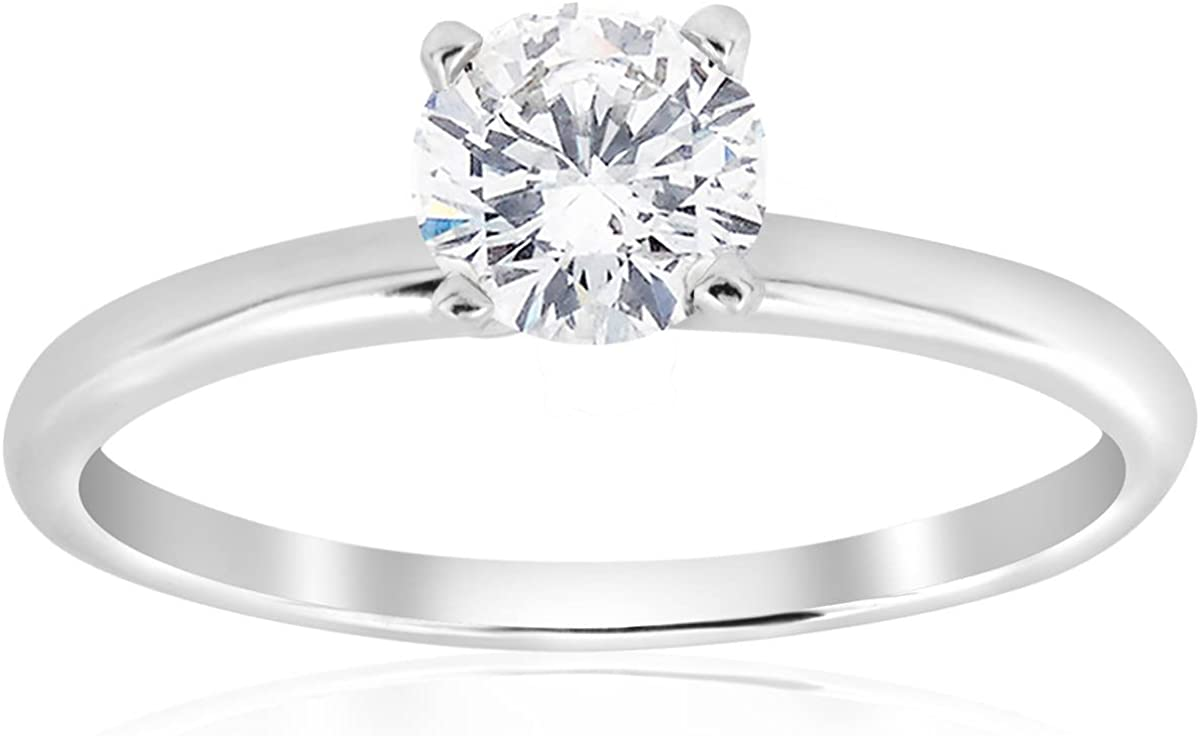 5/8ct Solitaire Round Diamond Engagement Ring 14K White Gold Brilliant Jewelry