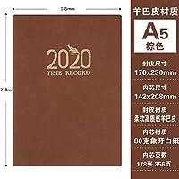 ノートノートパッド2020のスケジュール365日ビジネスオフィスのノートブック-A5 Brown_
