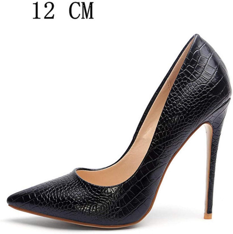 Hysxm 12 cm Frau High Heels Schuhe Frauen Braut Hochzeit Ferse Schuhe Schlangenleder Schwarz Party Plus Größe Pumps Party Stiletto