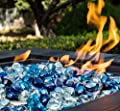 Chilli Cosmos Fire Glass Diamond 1 Inch Fire Pit Glass Rocks for Propane or Gas Fire Pit 20 Pounds, White/Cobalt Blue/Margarita Azura Blue Blend(Gift Package)