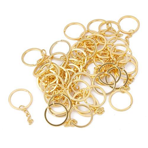 Lot de 50pcs Anneau Brisé Porte-clés avec Chaîne en Alliage Artisanat Couleur d'Or 25mm