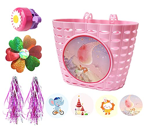 Noviko Children Bicycle Accessories,Bike Basket,Kids Bicycle Front Handlebar Basket with 4 Pcs Stickers,Bike Bell, Bicycle Windmill and Streamers for Girls Bike DIY Set
